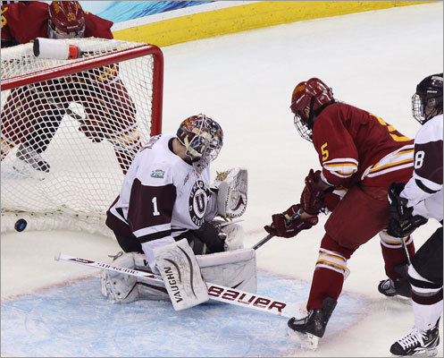 Ferris State's Aaron Schmit beat Union goaltender Troy Grosenick to tie the score at 1-1 in the second period of the first semifinal at the Frozen four. Ferris State won 3-1 to advance to Saturday's national championship game.
