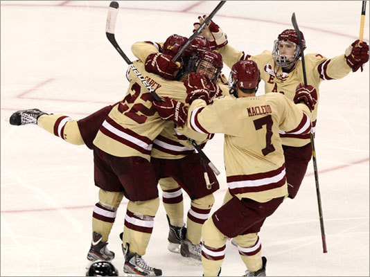 Boston College cruised past Minnesota in the semifinals of the Frozen Four in Tampa, Fla., on Thursday. BC won 6-1 to advance to the national title game on Saturday against Ferris State.