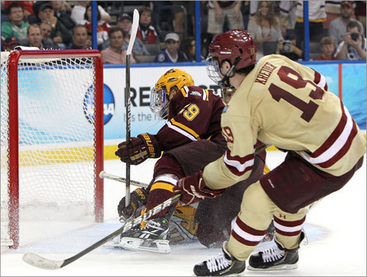 Boston College's Chris Kreider scored past Minnesota goalie Kent Patterson in the second period to give BC a 3-0 lead.