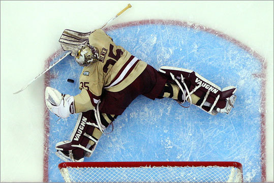 Boston College goalie Parker Milner made 30 saves to anchor the Eagles' defense.