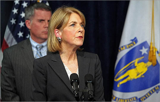 Massachusetts Attorney General Martha Coakley spoke at a press conference April 2.