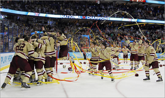 The Boston College hockey team won 19 straight games to finish the season, including a 4-1 victory over Ferris State in the NCAA national championship game. It was BC's fifth college hockey championship.