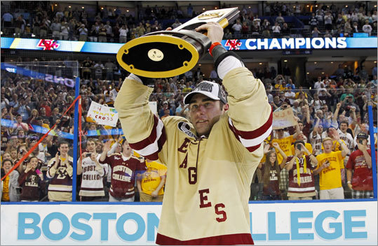 Tommy Cross and Boston College outscored their opponents 77-21 during their 19-game win streak to end the season. Ferris State (26-12-5) was making its first Frozen Four appearance.
