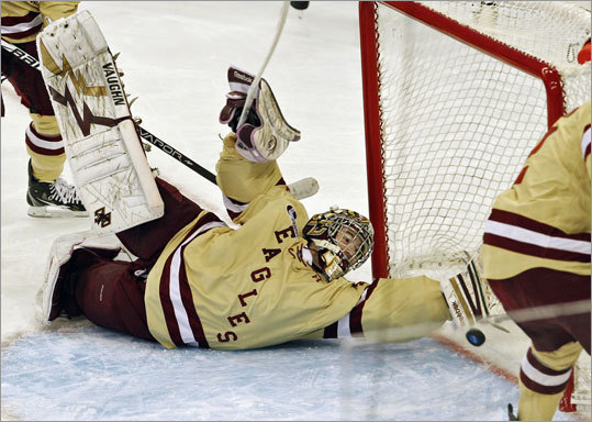 Boston College goalie Parker Milner made 27 saves to lead the Eagles to their fifth national championship. Boston College defeated Ferris State 4-1 in the title game in Tampa, Fla., on Saturday.