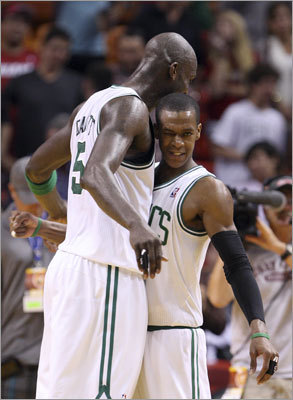Kevin Garnett (left), Rajon Rondo and the Celtics defeated the Miami Heat for the second time in as many meetings on Tuesday in Miami. Garnett scored 24 points and Rondo had 18 in the 115-107 victory.