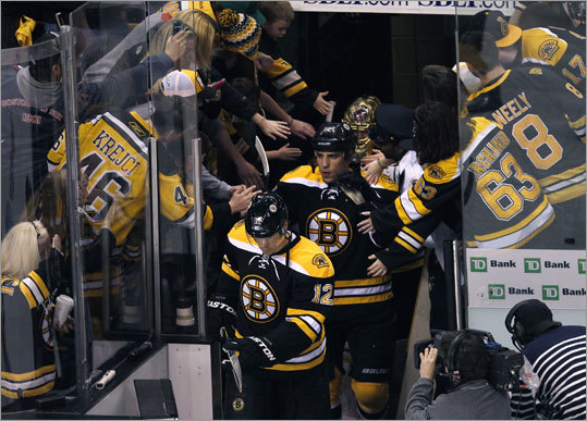 Bruins left wing Milan Lucic and center Chris Kelly (front) headed to the ice for a skatearound prior to facing the Washington Capitals in Game 1 of their first-round playoff series at TD Garden.