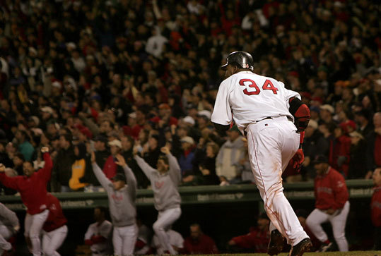 2004: Ortiz hit wins ALCS Game 5 Down 3-1 to the Yankees after an historic comeback win the night before, David Ortiz delivered again, this time with two outs in the bottom of the 14th inning against the Yankees. Ortiz muscled a 2-2 pitch from Esteban Loaiza into center field and Johnny Damon raced home from second base to score the winning run, setting off another wild celebration at Fenway Park.