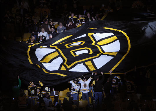 Fans continued the tradition of passing a banner around the seats prior to the Bruins' first playoff game of the 2012 season.