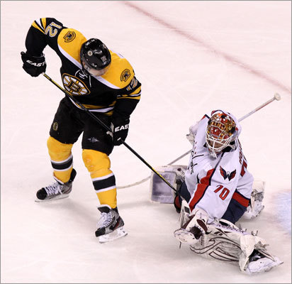 Capitals goalie Braden Holtby stopped Bruins left wing Brian Rolston during the third period.