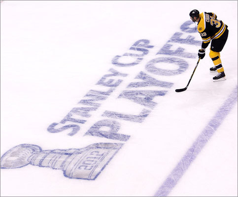 The Bruins began their quest for a second straight Stanley Cup Thursday at TD Garden, where the ice was redone with the NHL's playoff logos. Captain Zdeno Chara and the Bruins took on the Capitals in Game 1.