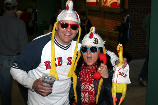 Speaking of chicken, Jessica Rohrick, from Quincy, who calls herself The Chicken Lady, was ready for the opener along with Walt Wundren, from Foxborough. The rubber chicken has a name too: Ernest Pollo.
