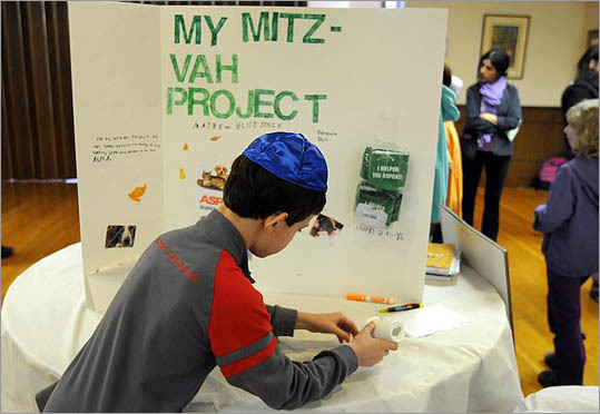 At Temple Beth Emunah, Fran Litner is preparing 25 children for B'nai Mitzvah, a Jewish coming-of-age ritual that celebrates young people as they reach an age of responsibility from a religious perspective. Nine of Litner's students have special needs, and grant money will provide them with additional educational support, she said. At Temple Beth Emunah in Brockton, special needs student Mathew Bluestein, age 11, of Sharon , with his Mitz-Vah project. The project is mandatory for children who are training for their Bar and Bat Mitzvah.