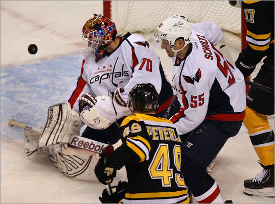 Rich Peverley moved in on a shot in the first period that Capitals goalie Brayden Holtby made a stop on while the Capitals' Jeff Schultz defends.