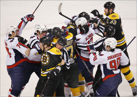 Tempers flared at the end of the second period as the Bruins and Capitals got into a small scrap. No penalties were called.