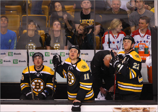 A dejected Bruins bench of Brad Marchan, Gregory Campbell and Shawn Thornton watch a replay of the Capitals' Nicklas Backstrom's game-winning goal in the second overtime period.