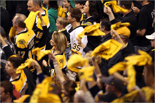 Bruins fans waved their towels -- similar to 'Terrible Towels' -- as the Bruins come onto the ice.