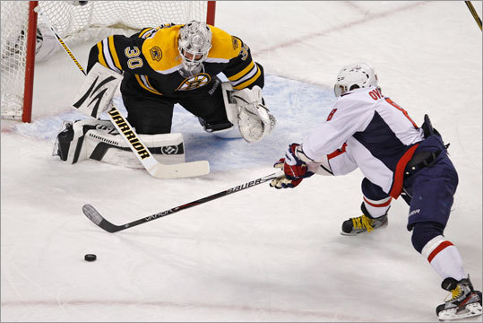 Washington Capitals left wing Alex Ovechkin (8) tried to get his stick on the puck for a shot against Tim Thomas during the first period but was denied.