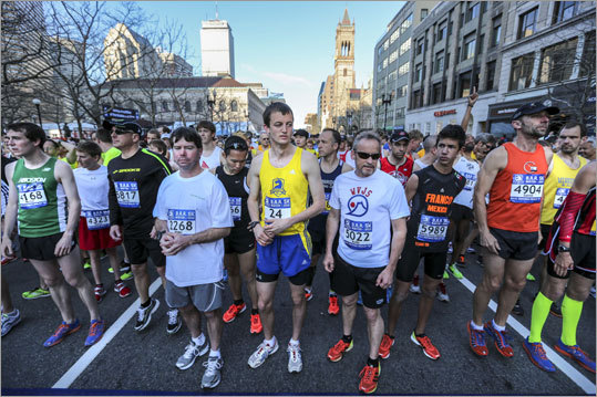 Runners lined up early Sunday morning for the BAA 5K, which started and finished on Boylston Street.