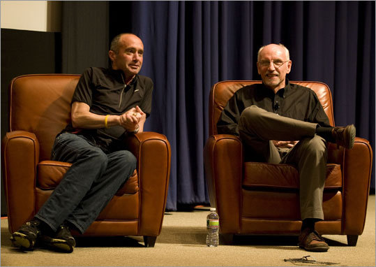 On the 30th anniversary of the 'Duel in the Sun,' 1982 Boston Marathon winner Alberto Salazar discussed his book '14 Minutes,' which is about the period of time Salazar had no pulse after he had a cardiac arrest years later. Salazar and co-author John Brant (right) talked about it at the Boston Public Library.
