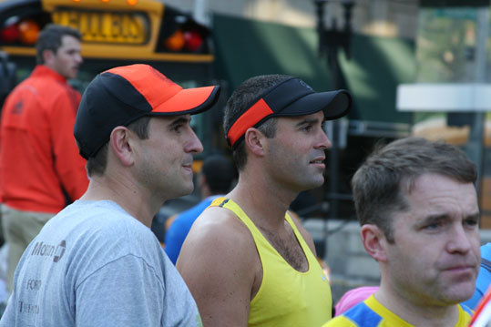 Anthony Coburn (left) arrived from Sydney Australia to run his first Boston Marathon and his 11th marathon overall. 'Chicago was hot in 2007, I remember that one,' Coburn said. 'I'm just looking forward to having a few cold beers afterward,' said Hamish Coleman (right) of Tauringa, New Zealand, on running his first Boston, and seventh marathon overall.