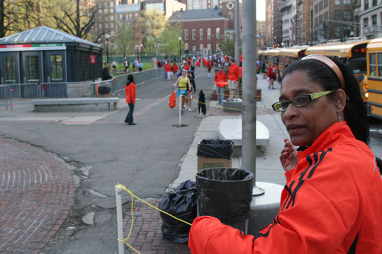 Alison Madeira, from New York City, came up to Boston to be one of the many volunteers that help runners with logistics throughout the day.