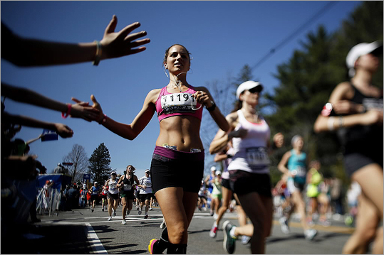The temperature was in the mid-60s when the women began the race about 9:30 a.m.