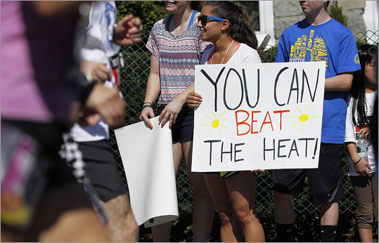 The Boston Athletic Association reported that of the 26,716 runners who were awarded numbers, 22,426 actually started the race. That's 84 percent, and means more than 4,000 runners heeded the warning about today's heat.