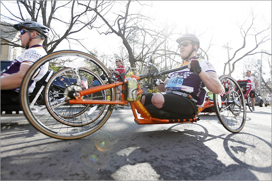 Wheelchair athletes began the Boston Marathon in Hopkinton.
