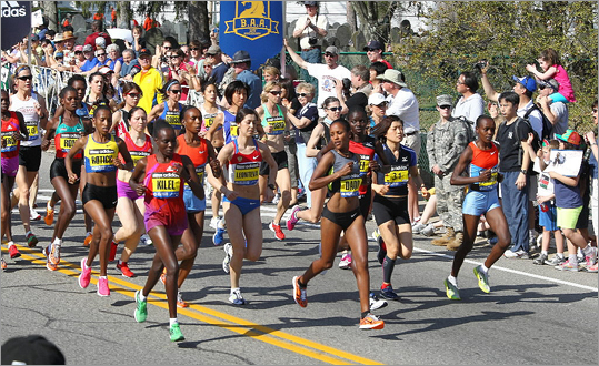 The elite women's start during the Boston Marathon.