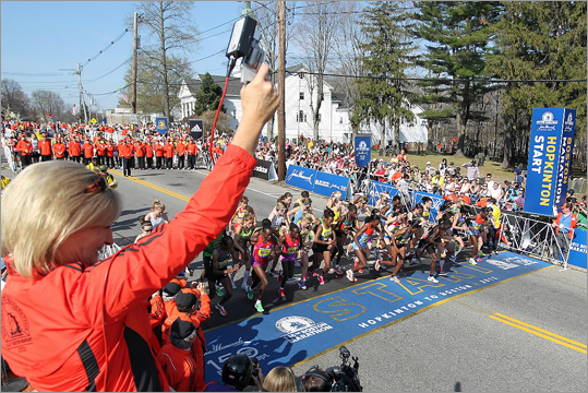 Allison Roe, the 1981 Boston Marathon women's champion, fired the starter's pistol for the elite women's start of the Boston Marathon.