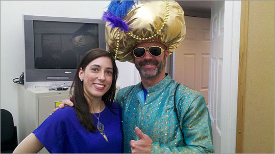 Gerhardson was dressed in a Bollywood Party formal Indian shirt, pants, and a poofy gold turban for his 11th Boston Marathon..