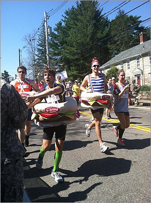 Three b.good hamburgers didn't wait long before reaching for high fives in Hopkinton.