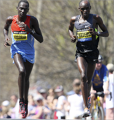 Kenyan's Mathew Kisorio (left) and Levy Matebo, were neck-and-neck as they climbed Heartbreak Hill.