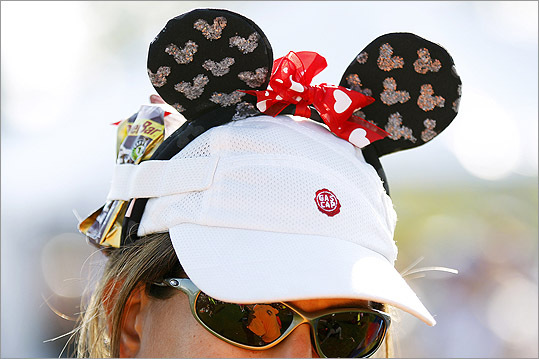 Diane Machado stuffed Power Bar products in her Minnie Mouse hat.