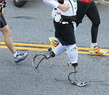 The mobility impaired participants started the Boston Marathon at 9 a.m. on April 16, 2012.