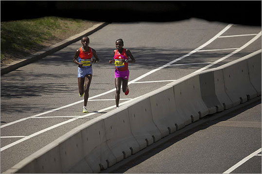 Jemima Sumgong (left) and Sharon Cherop ran in the Boston Marathon on April 16, 2012.