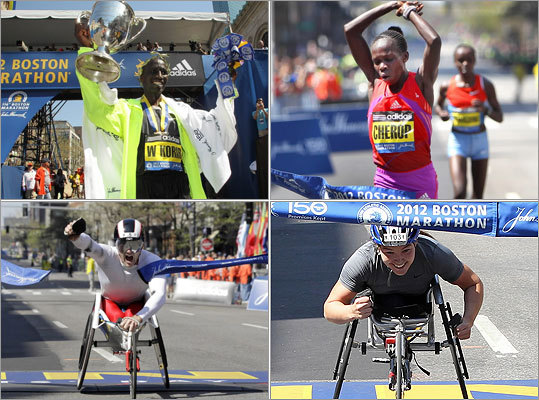 The 116th annual Boston Marathon once again drew thousands of runners and onlookers for one of the most premiere road races in the world. The men's race was won by Kenya's Wesley Korir (top left), while his compatriot, Sharon Cherop (top right) took the women's race. Canada's Joshua Cassidy (bottom left) won the men's wheelchair race. The women's wheelchair race was won by Shirley Reilly (bottom right).