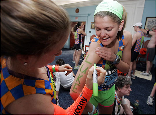 Beth Millian, sharpied-up before beginning the race.