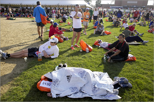 Runners waited in the Athletes' Village before the start of the Boston Marathon.
