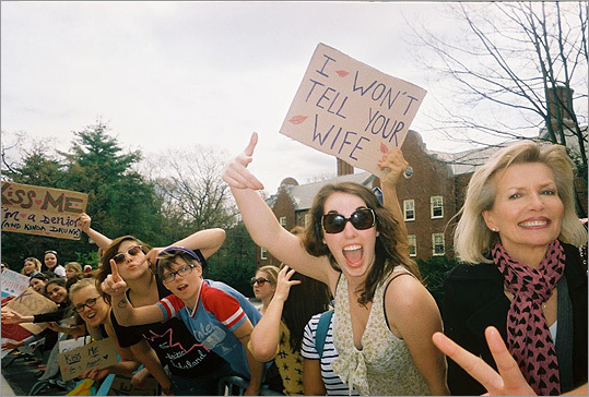 Pictured: Famous/infamous #BostonMarathon #Wellesley Poster. Who's going to stop at Wellesley for a kiss next week?