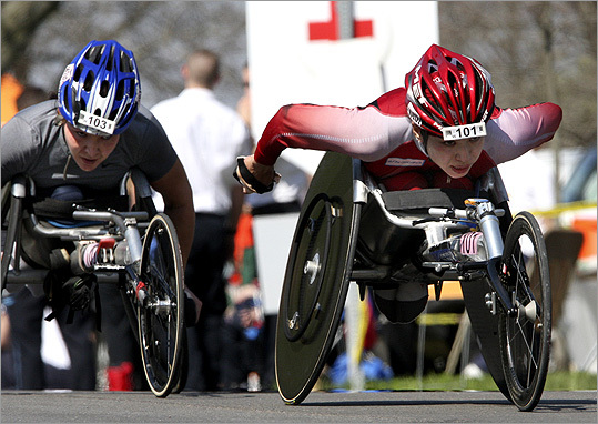 Wheelchair racers Shirley Reilly (left) and Wakako Tsuchida climbed Heartbreak Hill.