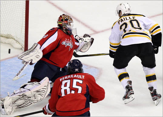 Daniel Paille broke through for the Bruins with this goal in the second period to tie the game, 2-2.