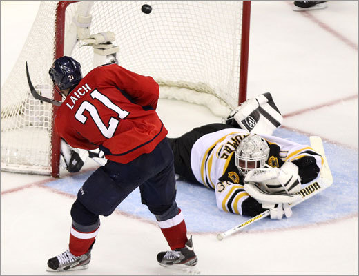 Capitals center Brooks Laich tied the game, 3-3, with this breakaway goal in the third period.