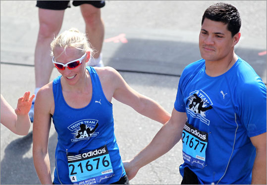 Former Patriots linebacker Tedy Bruschi and his wife, Heidi, were among the 21,554 runners who completed the 116th Boston Marathon. Heidi Bruschi finished in 5 hours, 8 minutes, 4 seconds. Tedy was two seconds behind.