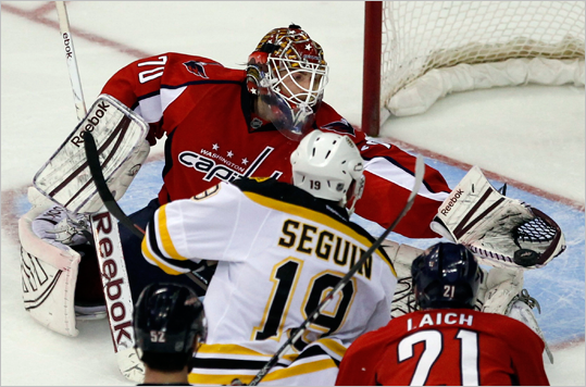 Capitals goaltender Braden Holtby made a save against Bruins center Tyler Seguin during the second period