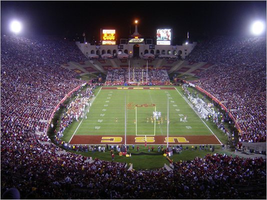 Los Angeles Memorial Coliseum Location: Los Angeles Opened: 1923 Capacity: 93,607 Although it is currently home to the USC Trojans, the Coliseum has hosted the Olympic Games twice, as well as Super Bowls and World Series.