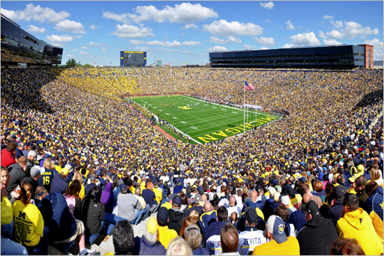 Michigan Stadium Location: Ann Arbor, Mich. Opened: 1927 Capacity: 109,901 Home to the Wolverines, 'The Big House' is the largest stadium in the US. Michigan didn't add permanent field lights to the stadium until 2010.
