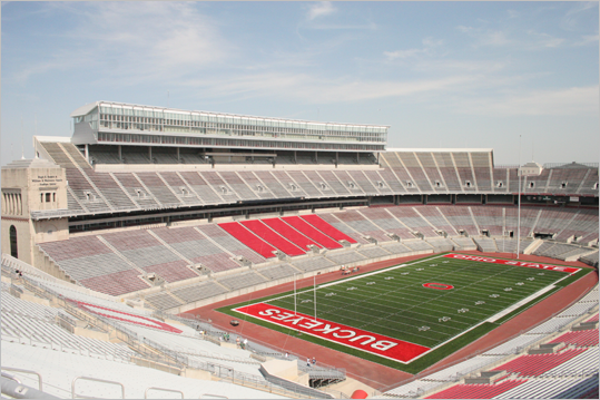 Ohio Stadium Location: Columbus, Ohio Opened: 1922 Capacity: 102,329 Known as 'The Horseshoe' because of its open south end, Ohio Stadium is home to Buckeyes football. It does not have field lights, despite being heavily renovated from 1999 to 2000.