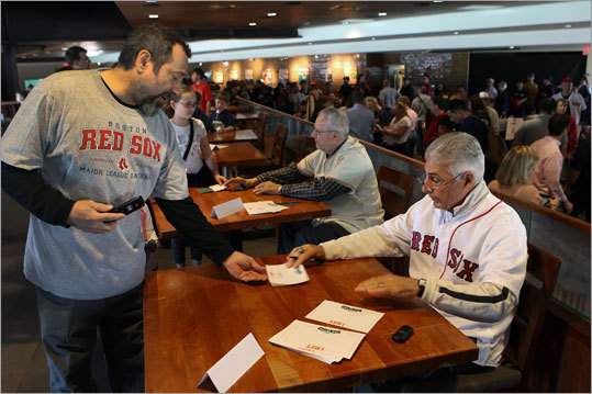 Ted Lepcio and Dick Berandino were among the Red Sox old timers who signed autographs.