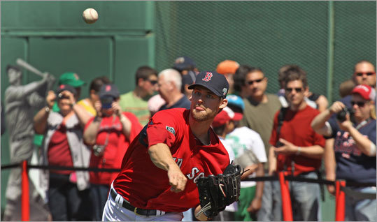 Red Sox player Daniel Bard got some throws in with an audience behind him at Fenway Park's open house.